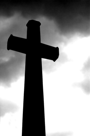 toward: Christianity Cross on heaven background.
