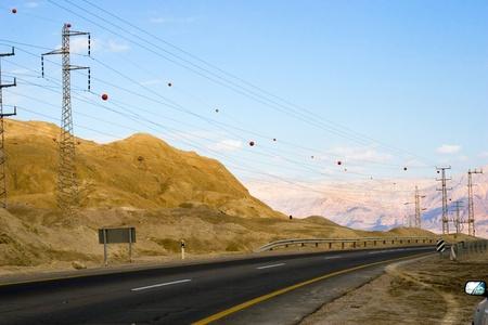 highway in desert, mountains, sky, power line