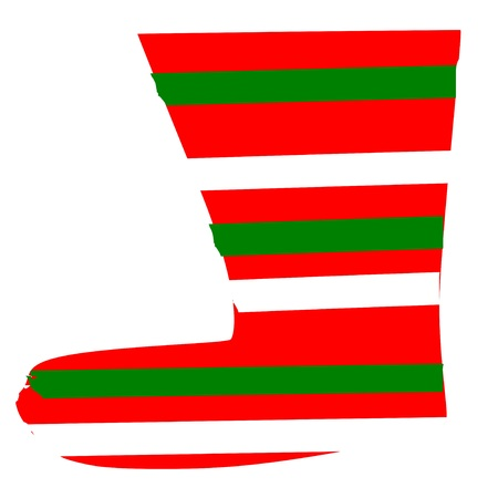 Vector christmas sock holiday green read and white cute