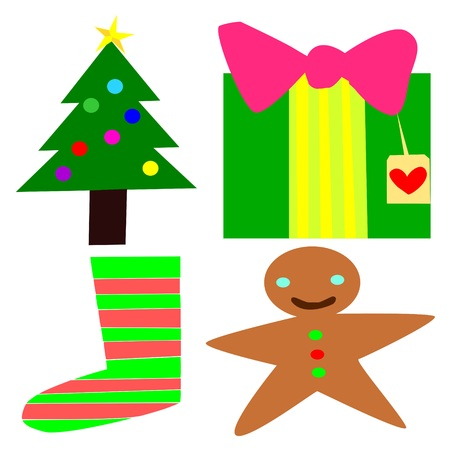 christmas collection of a present a sock a tree and a cookie