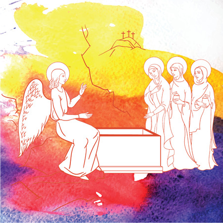 scène van Maria Magdalena werd de eerste persoon om Jezus te zien na zijn opstanding Stock Illustratie