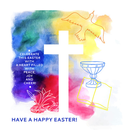 golgotha: colorful abstract background includes happy easter words