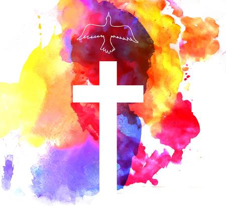 baptism: astratto sfondo colorato con croce e un uccello