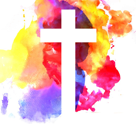 christian: colorful abstract background with cross in watercolor style