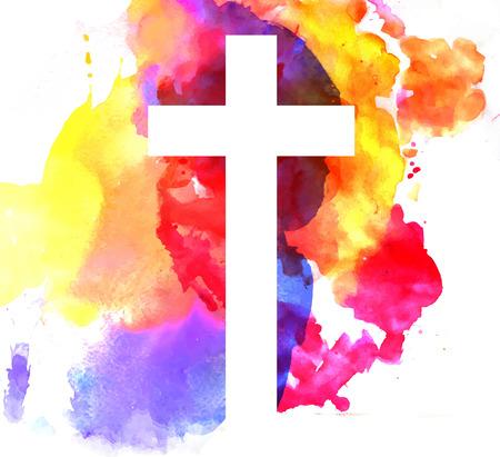 bautismo: Fondo abstracto colorido con el centro de estilo de acuarela