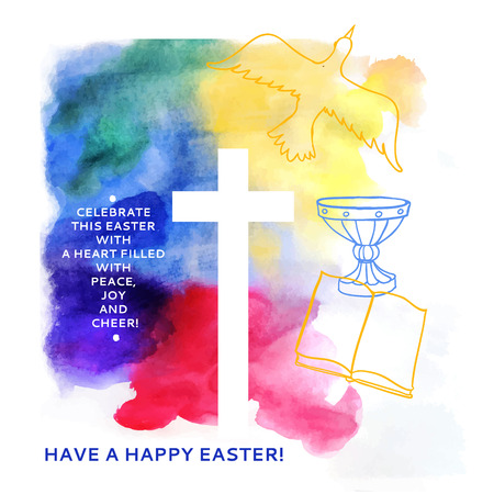 colorful abstract background includes happy easter words