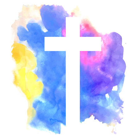 holy cross: colorful abstract background with cross in watercolor style