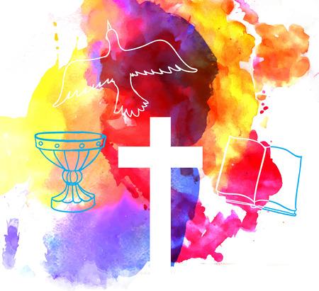 pasqua cristiana: astratto sfondo colorato con croce in stile acquerello