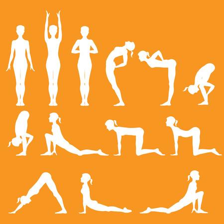 well being: set of yoga poses, Surya Namaskara