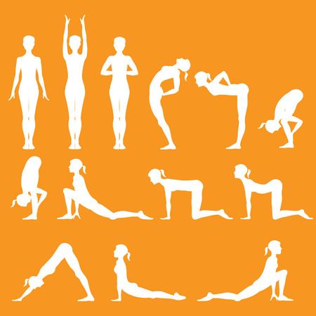 set of yoga poses, Surya Namaskara Stok Fotoğraf - 39468817