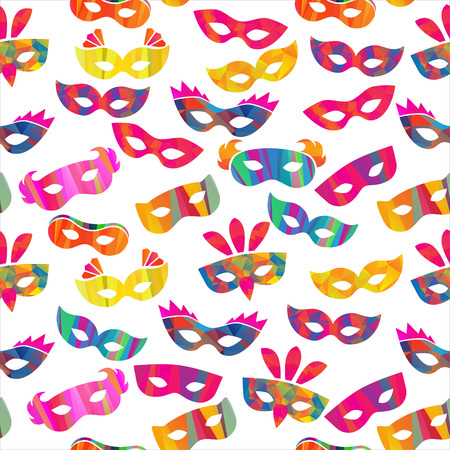 carnival masks: seamless pattern with carnival masks different forms and color stripes