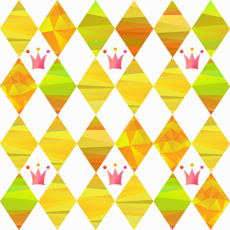 seamless pattern with colorfull rhombus  and carnival crown by different forms and color stripes