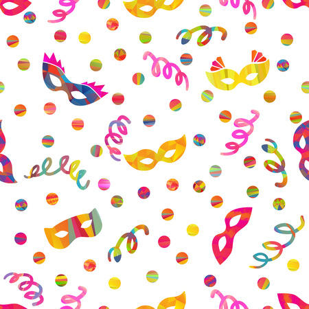 mummery: seamless pattern with carnival masks different forms and color stripes confetti, streamers