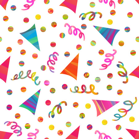 mummery: seamless pattern with birthday hats and color stripes confetti, streamers
