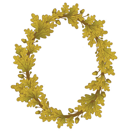laurel leaf: Oval Gold Oak Wreath , isolated on white, vector