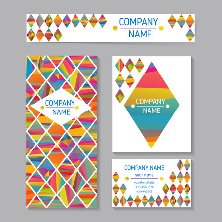 vector set of abstract creative business cards design with colorfull rhombus Illustration