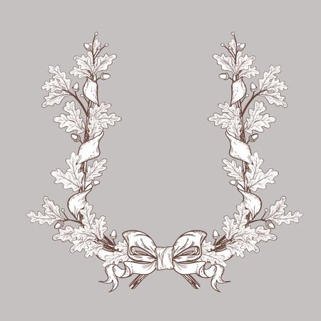 white Oak Wreath , isolated on grey, vector Vector