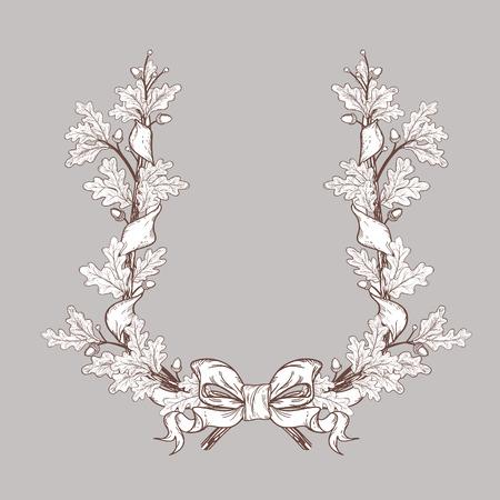 oak wreath: white Oak Wreath , isolated on grey, vector