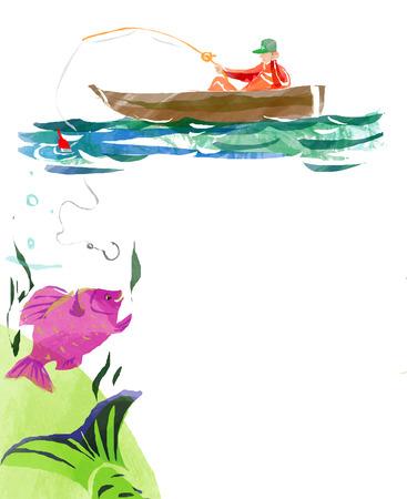 pecheur: p�cheur dans un bateau et un gros poisson dans un style d'aquarelle avec espace pour le texte Banque d'images