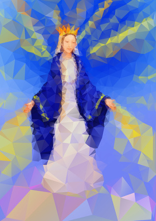 mary and jesus: Blessed Virgin Mary Queen in tryangle style