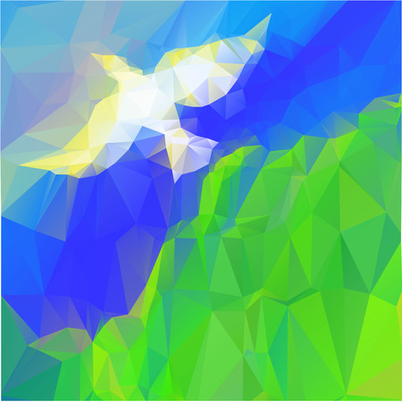 doves: dove and leaves, colorful abstract background in triangels style