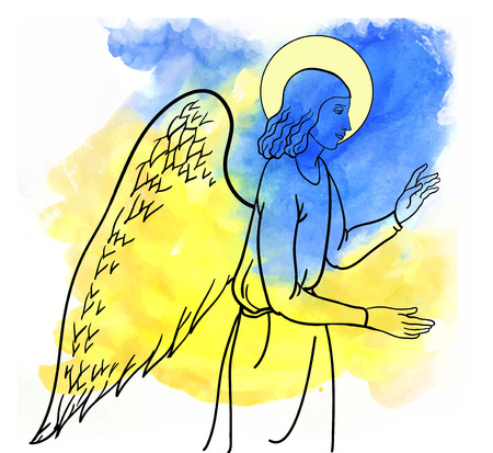 sepulcher: angel  blesses on watercolor style colofull backround
