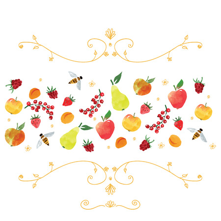 hand drawn doodles and watercolor style fruits, vector illustration Vector