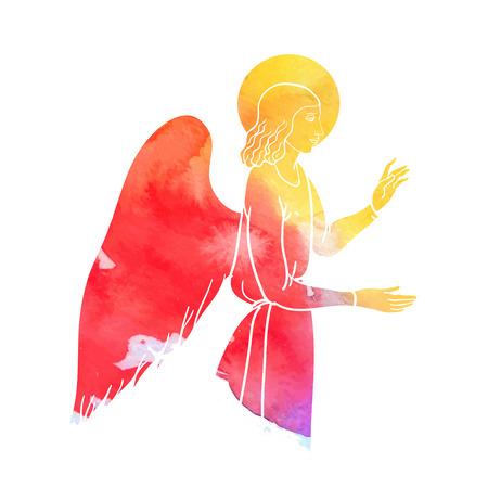 battesimo: Angelo Annunciazione in stile acquerello, colofull
