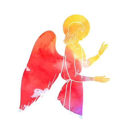 sepulcher: Annunciation angel on watercolor style, colofull