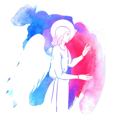 Annunciation angel on watercolor style, colofull