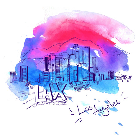 los: Los Angeles Skyline watercolor style with text illustration Illustration