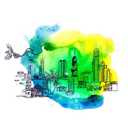 Panama City skyline in aquarel stijl. vector bestand Stock Illustratie
