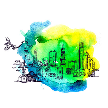 Panama City skyline in  watercolor style. vector file
