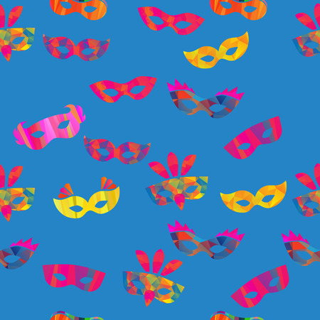 seamless pattern with carnival masks different forms and color stripes