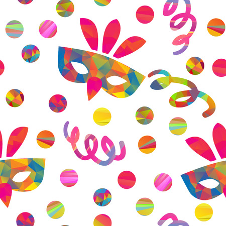 seamless pattern with carnival masks different forms and color stripes confetti, streamers