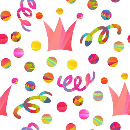 mummery: seamless pattern with carnival crown, confetti, streamers different forms and color stripes
