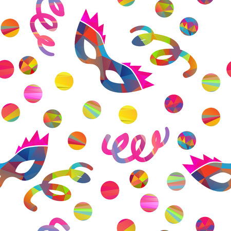 pretense: seamless pattern with carnival masks different forms and color stripes confetti, streamers