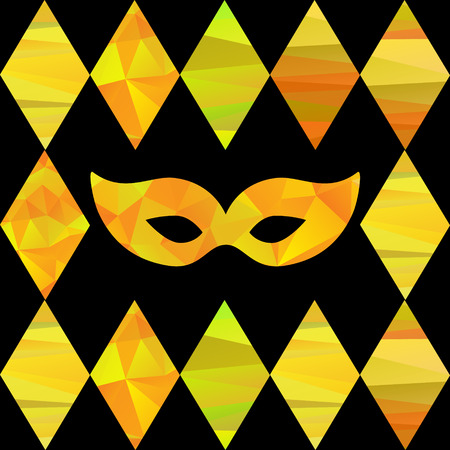mummery: seamless pattern with colorfull rhombus  and carnival masks by different forms and color stripes