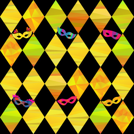 seamless pattern with colorfull rhombus  and carnival masks by different forms and color stripes