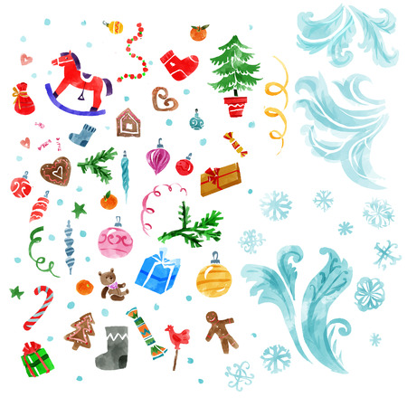 water color: Christmas design elements and abstract frozen ice texture in water color style . Xmas decorations set. Vector illustration