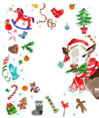 water color: Christmas design elements and a cow in a hat in water color style . Xmas decorations set. Vector illustration Illustration