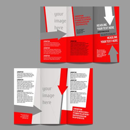 brochure design template vector trifold geometrisch abstract met pijlen Stock Illustratie