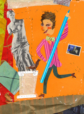 fantasize: collagernartist with a big pencil