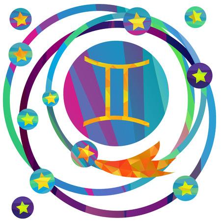 future twin: papercut style icon set: Gemini sign