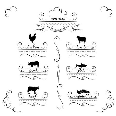 cartouche: Ornate cartouche style restaurant menu designs.