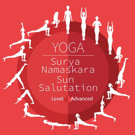 advanced: yoga poses, image includes the phrase Surya Namaskara, advanced level Illustration