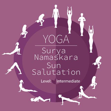 intermediate: yoga poses, image includes the phrase Surya Namaskara, intermediate level Illustration