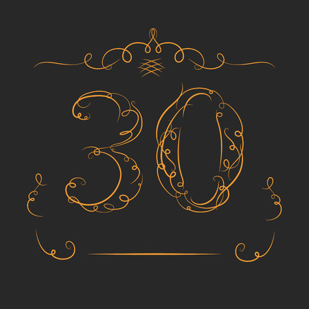 30th: Anniversary 30th signs  in calligraphy  style. Template of anniversary, birthday and jubilee emblems  with number.