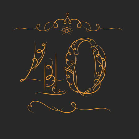 40: Anniversary 40th signs  in calligraphy  style. Template of anniversary, birthday and jubilee emblems  with number. Illustration