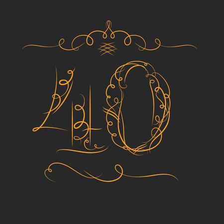 Jubileum 40 tekens in kalligrafie stijl. Sjabloon van het jubileum, verjaardag en jubileum emblemen met nummer.